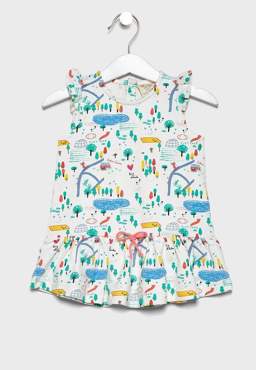 فستان مكشكش مزين بطبعات