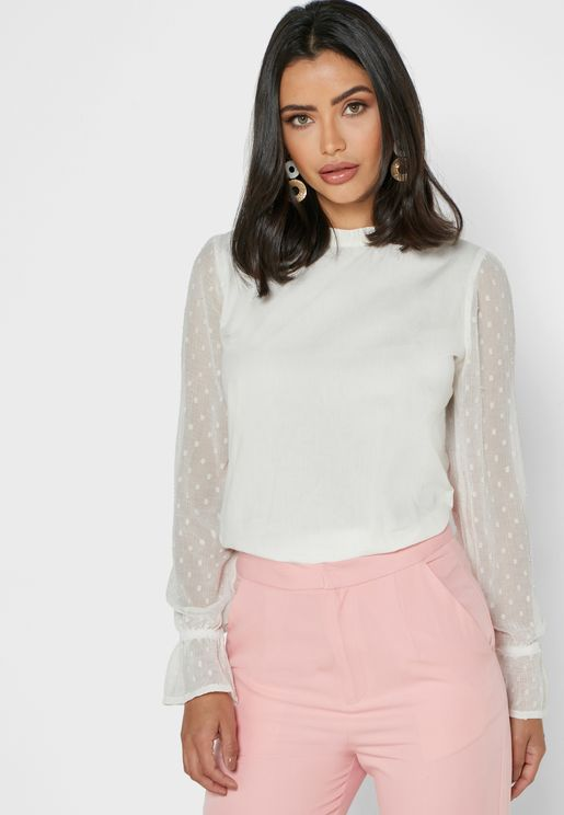 Dotted Sleeve Top