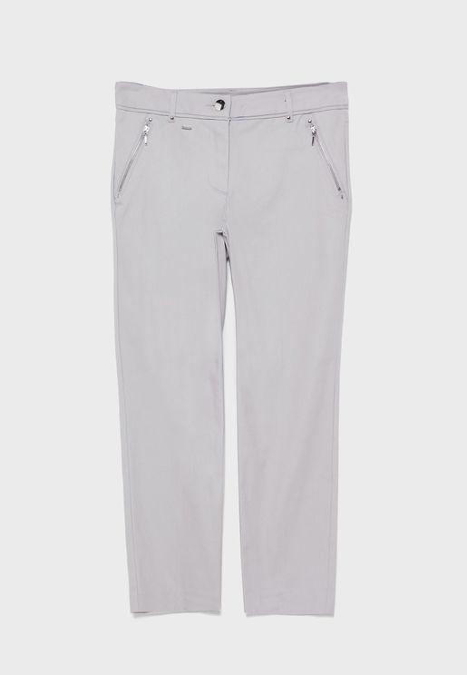 Zip Detail Crop Pants