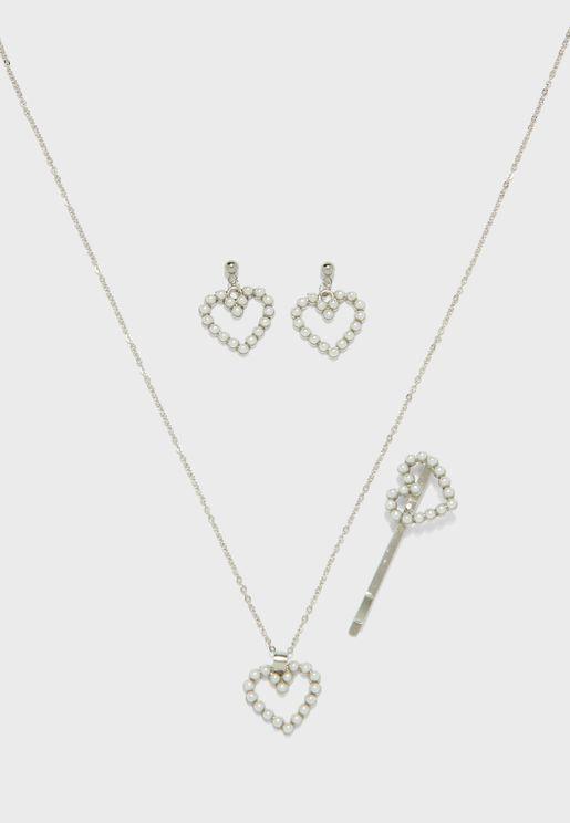 Pearl Heart 3 Piece Set