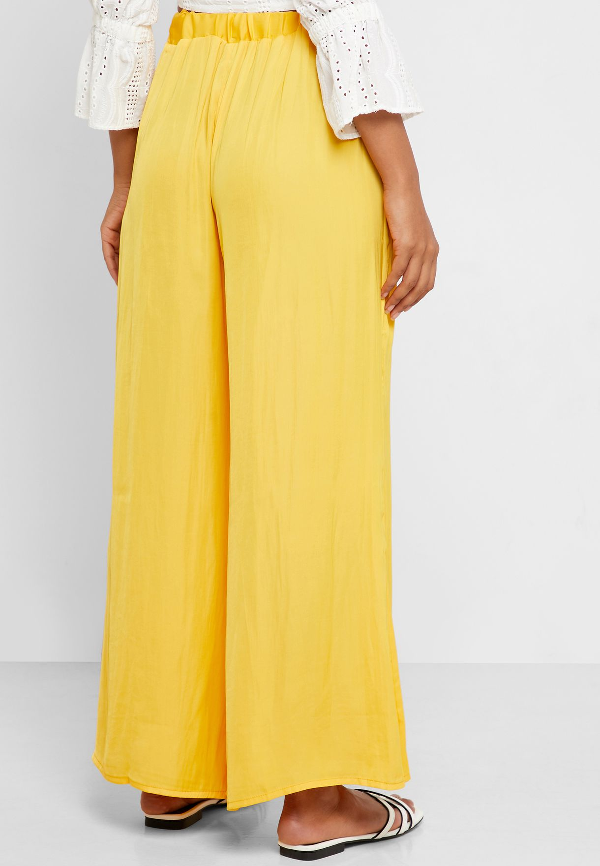 Ruffle Waist Wide Leg Beach Trousers