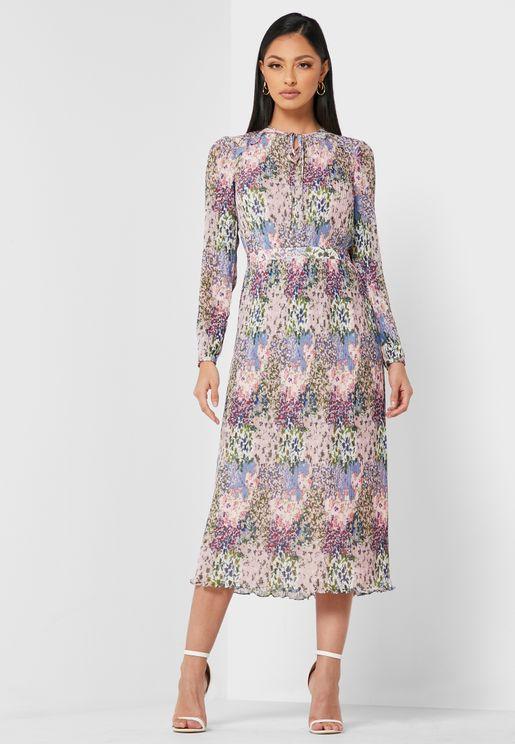 Flosii Printed Pleated Dress