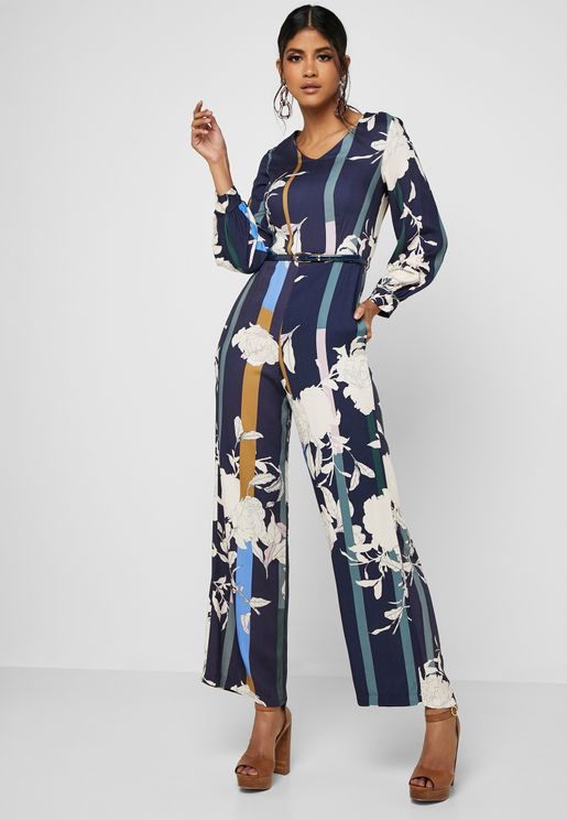 Printed Puffed Sleeve Jumpsuit