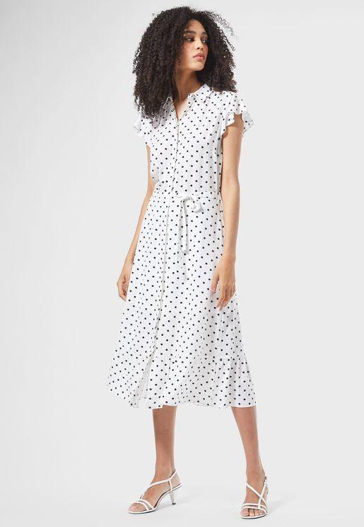 Ruffle Trim Tie Waist Spot Shirt Dress