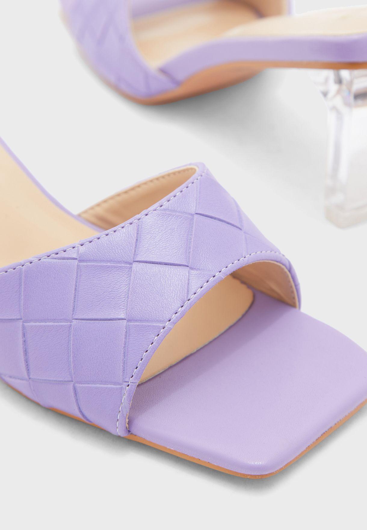 Weaved Square Toe Clear Heel Mule Sandal