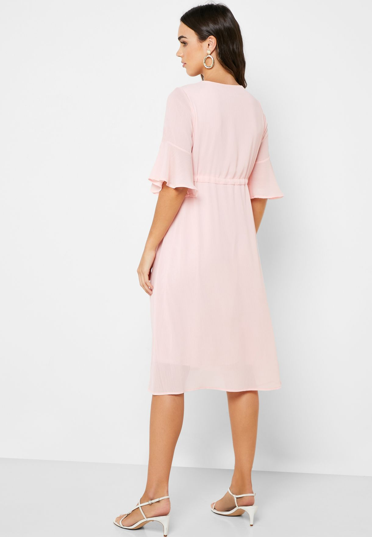 Tie Waist Wrap Front Midi Dress