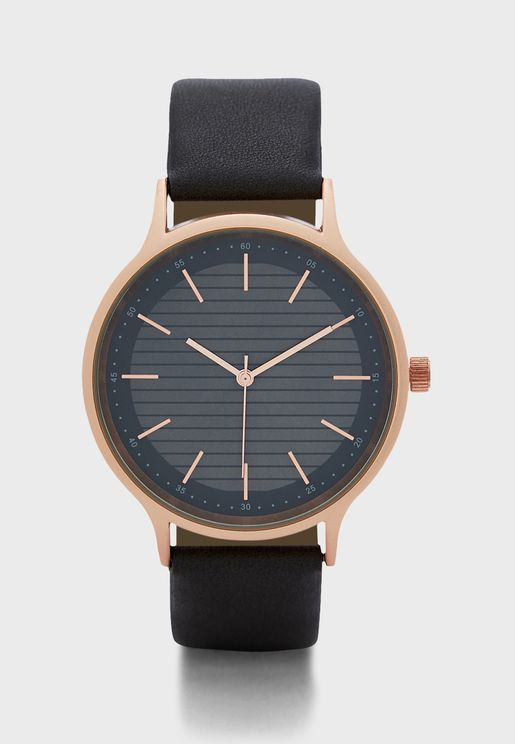 Rose Gold Case Dark Grey Detail Analogue Watch
