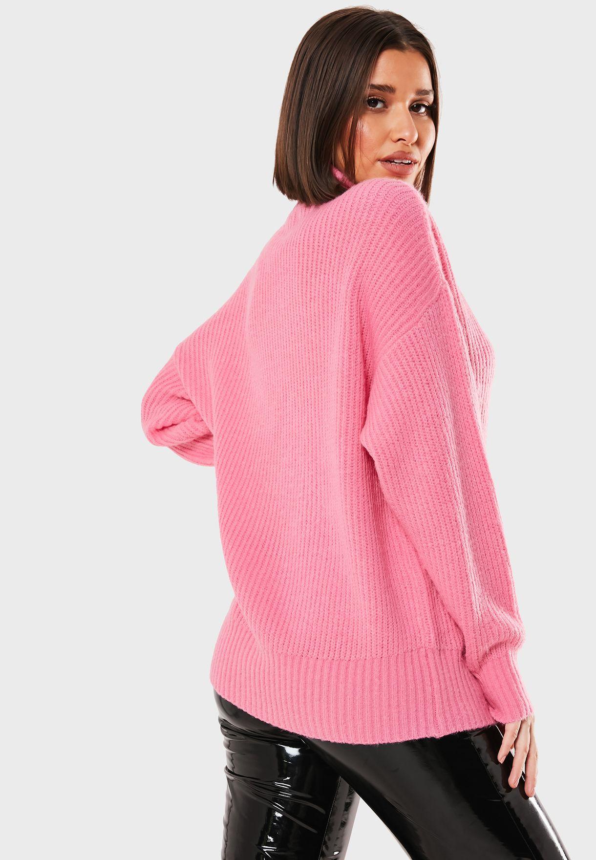 High Neck Fluffy Balloon Sleeve Sweater