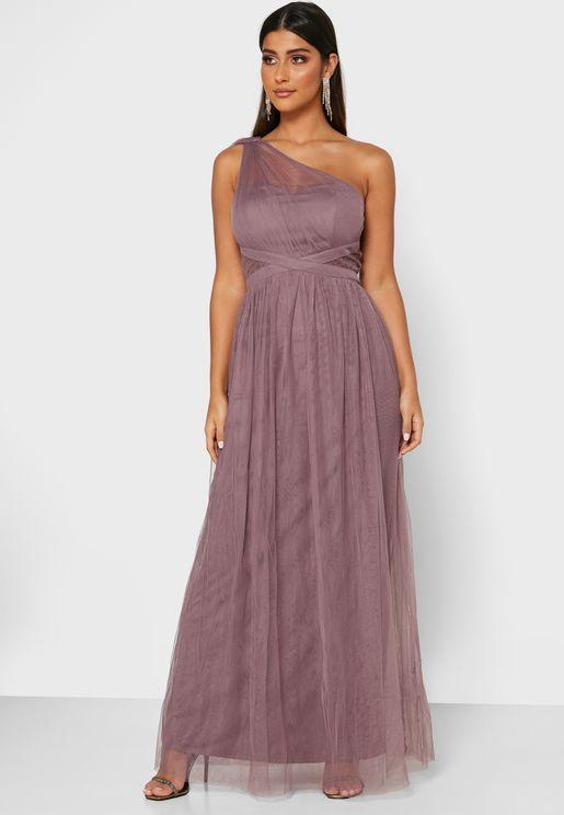 فستان شبك بكسرات