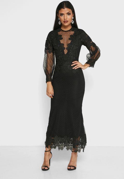 فستان شبكي منقط