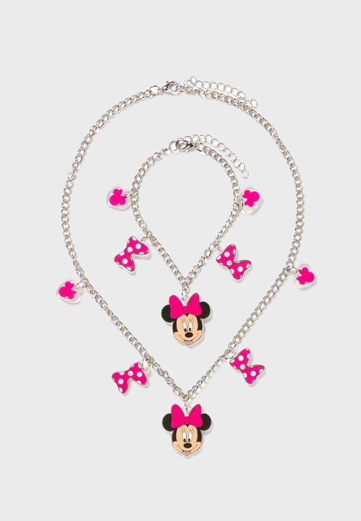 Kids Minnie Mouse Pendant Necklace + Bracelet Set