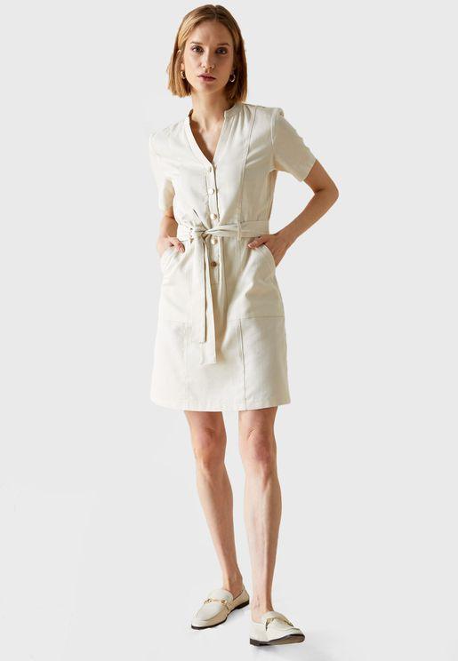 Button Detailed Short Sleeves Midi Dress