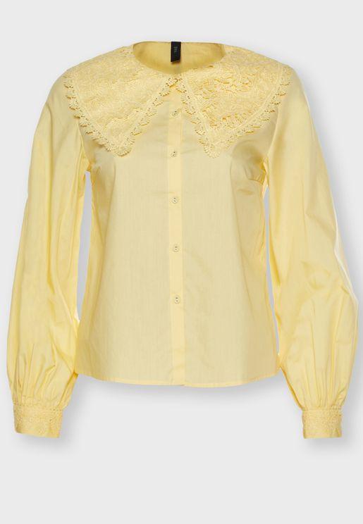 Lace Collar Peplum Shirt