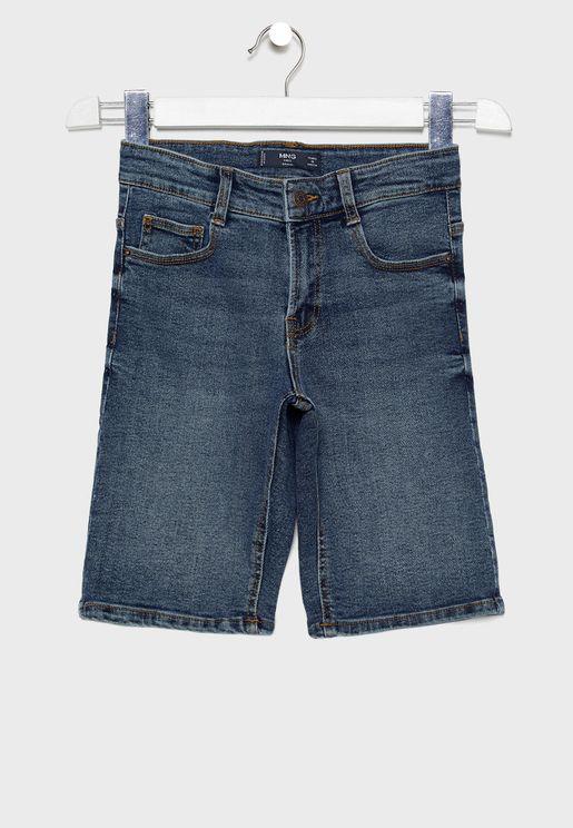 Kids Washed Denim Shorts