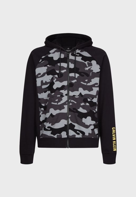 Logo Camo Hooded Track Jacket