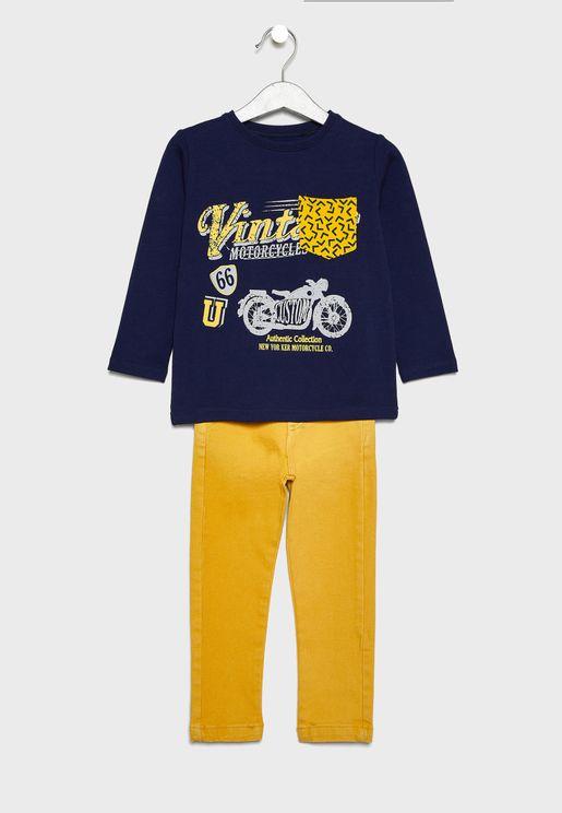 Little Graphic T-Shirt + Jeans Set