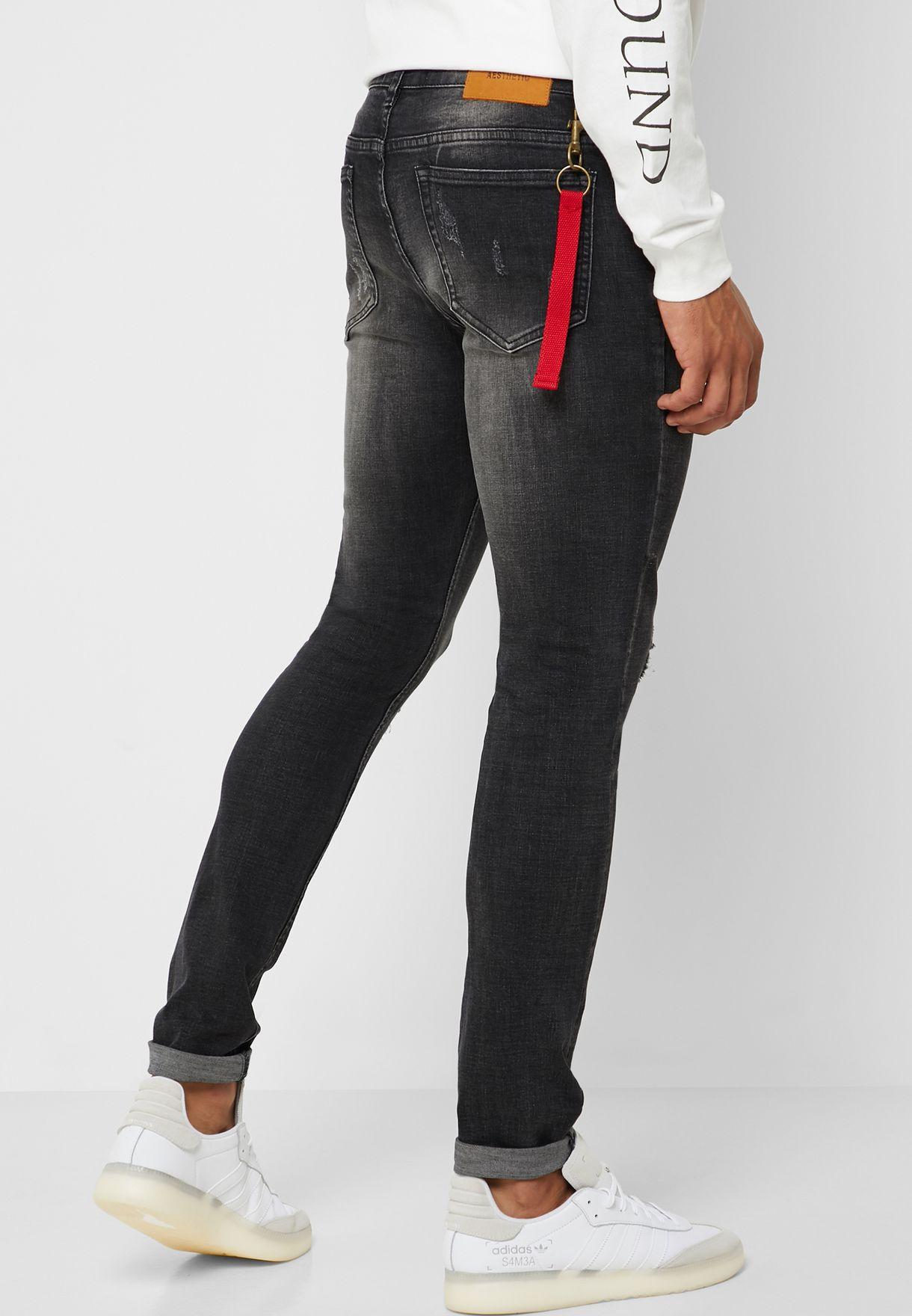 جينز باربطة خصر