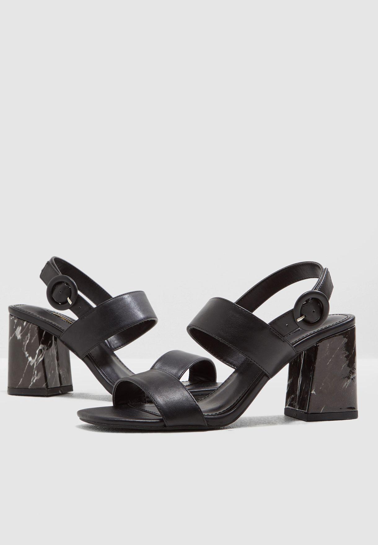 97d223f61be6 Shop Dorothy Perkins black Sasha Marble Heel 2 Strap Sandal 19239313 ...