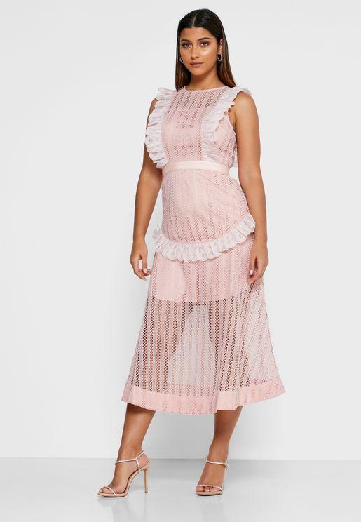 Portrait Lace Trim Sheer Dress