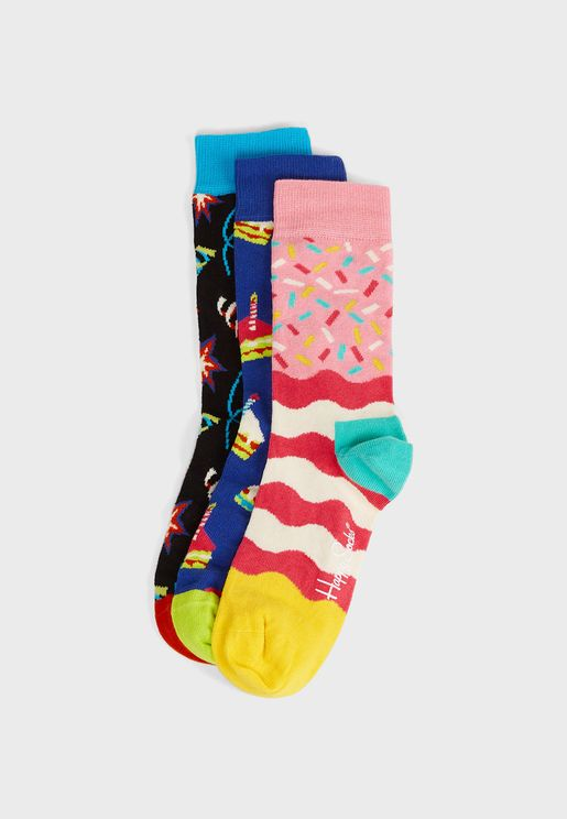3 Pack Happy Birthday Crew Socks