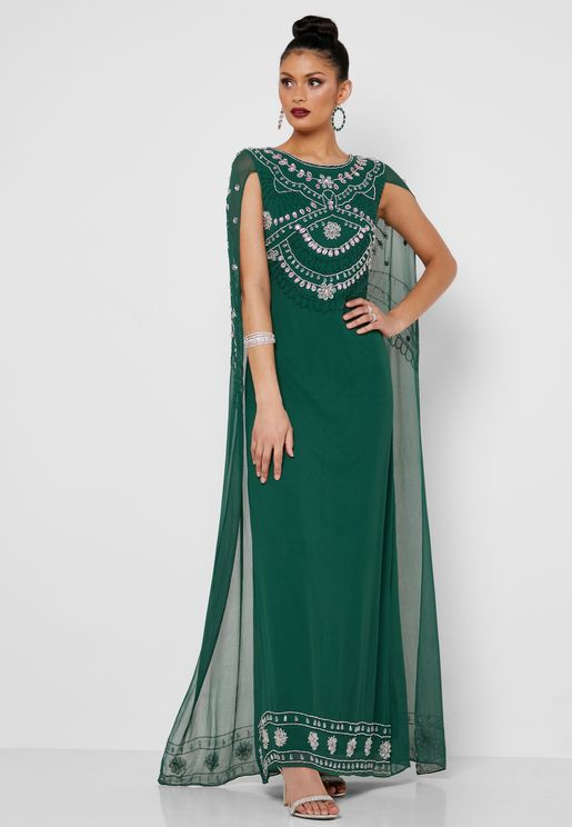 Embellished Cape Maxi Dress