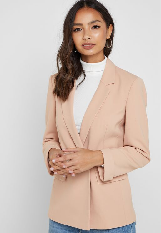 Notch Sleeve Back Slit Blazer