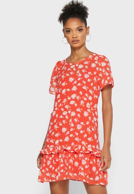 Printed Crew Neck Dress