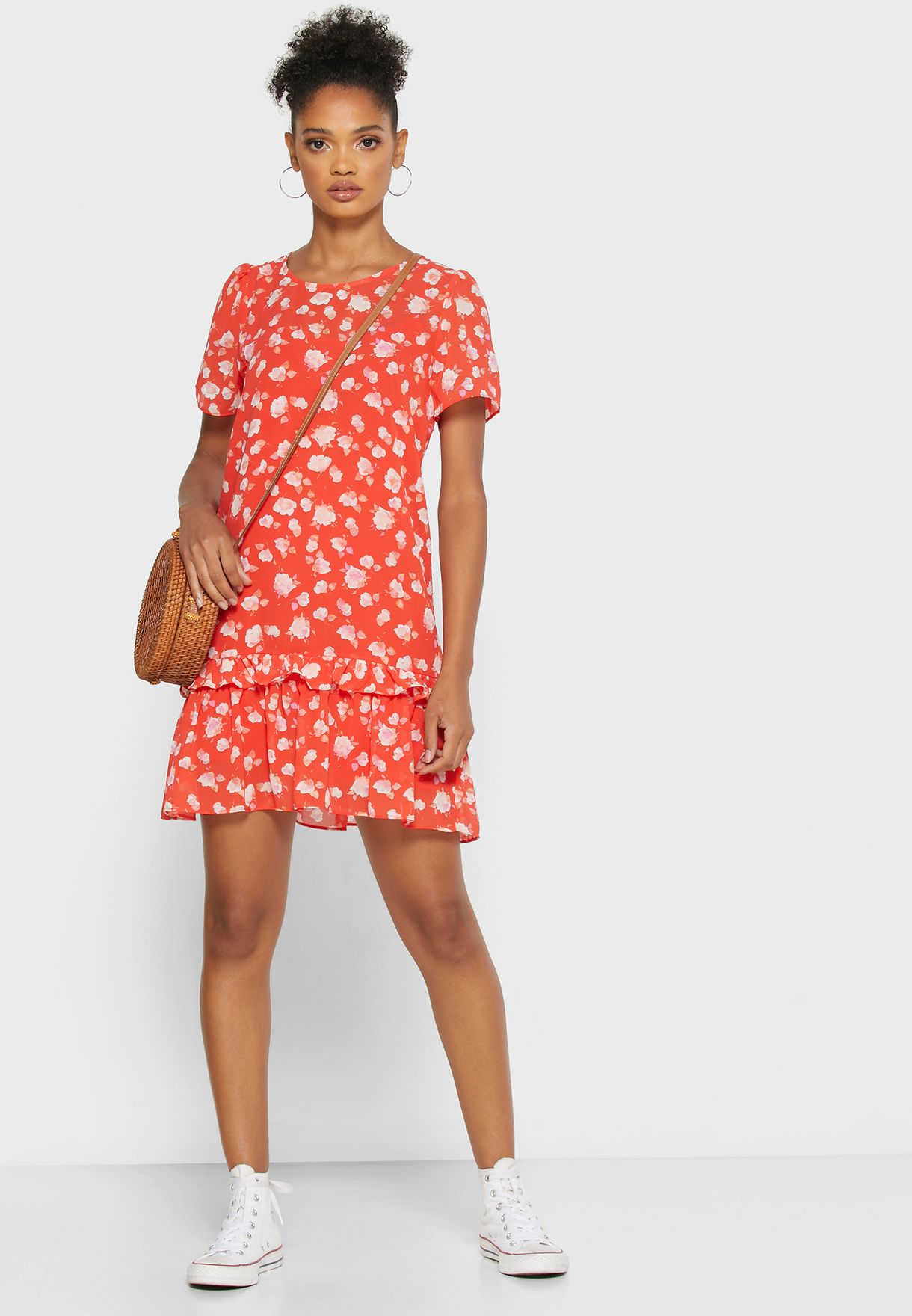 Printed Crew Neck Dress