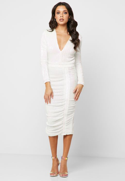 Sequin Ruched Plunge Midi Dress