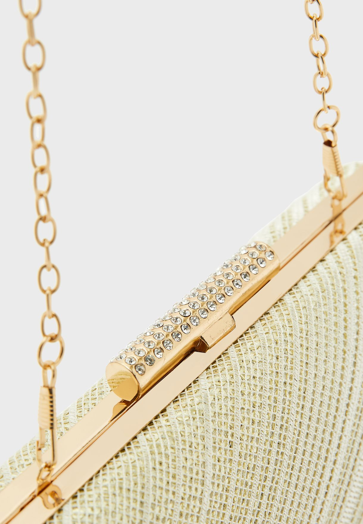 Shimmer Clutch Bag with Jewelled Clasp