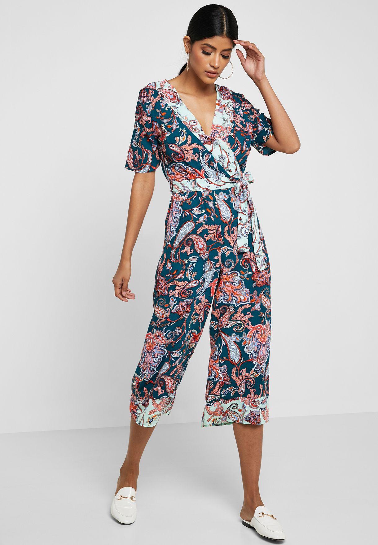 62c63438fae Shop Dorothy Perkins green Paisley Print Surplice Jumpsuit 97294003 for  Women in Bahrain - 18832AT16IBP