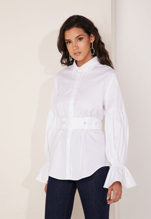 Silenced Belted Ruffle Sleeve Detail Shirt