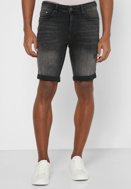 Skinny Washed Denim Shorts