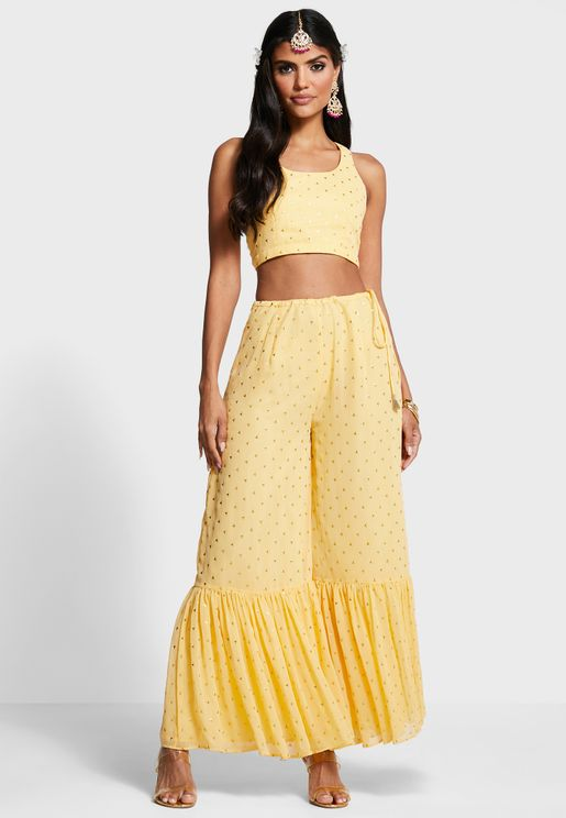 Indya X Payal Singhal Yellow Foil Ruffled Sharara Pants