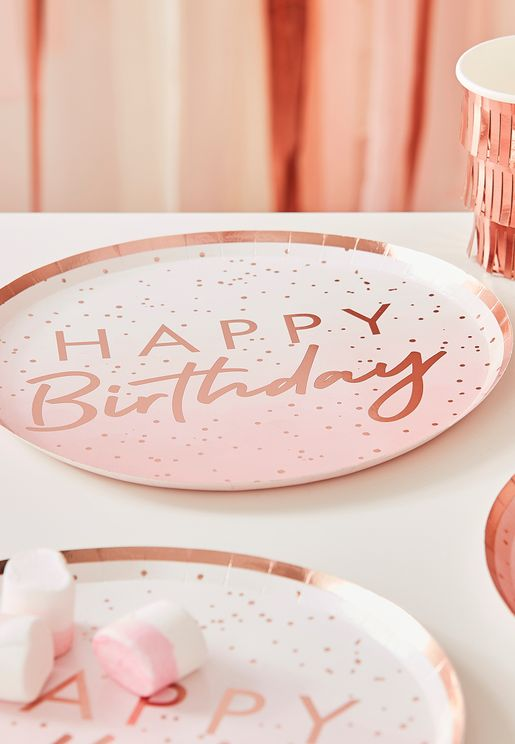 Happy Birthday Rose Gold Plate