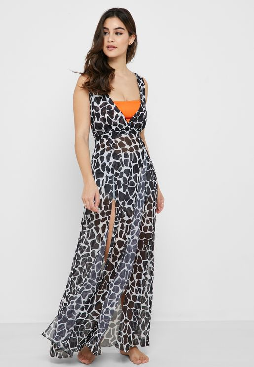 Giraffe Print Front Slit Beach Dress
