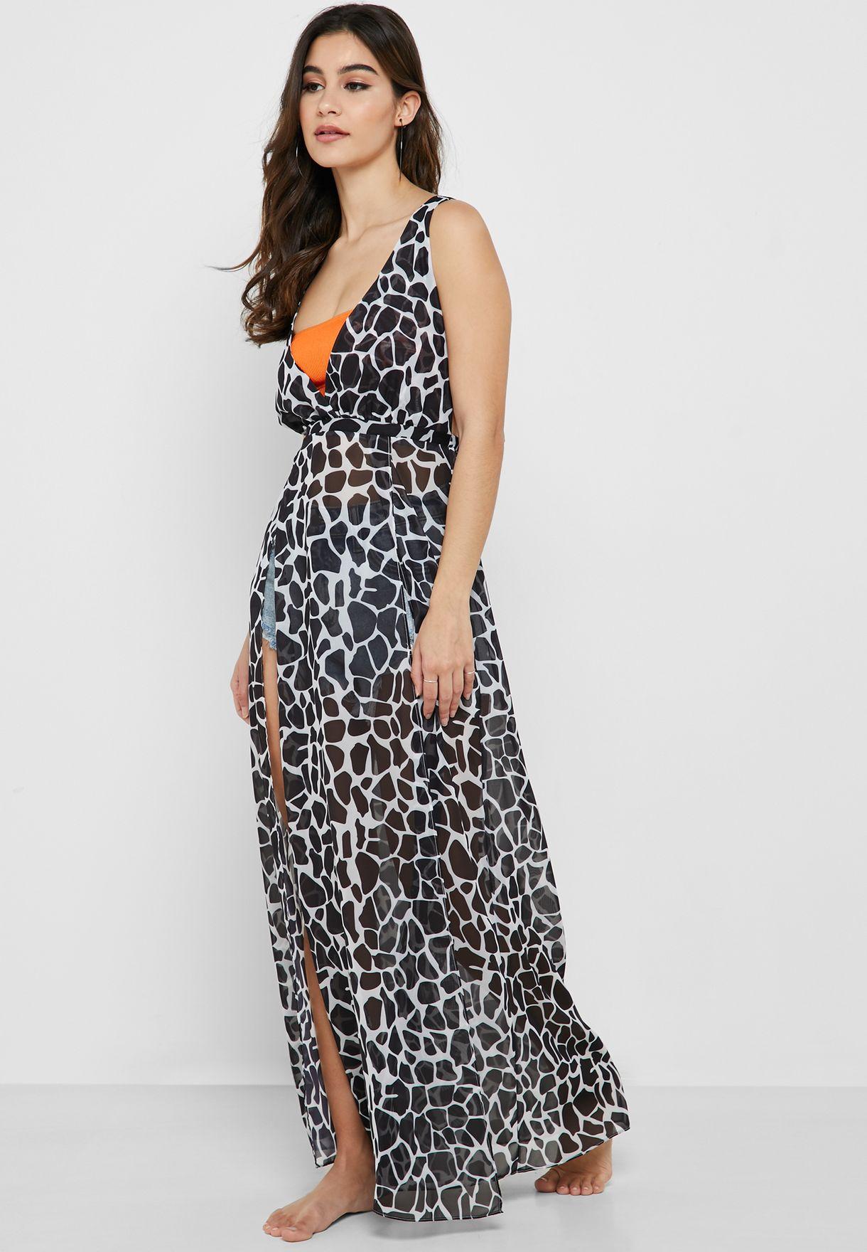 Giraffe Print Front Slit Beach Dress