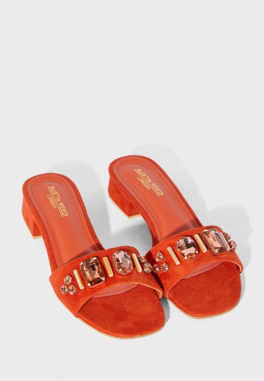 Single Strap Mid Heel Sandal