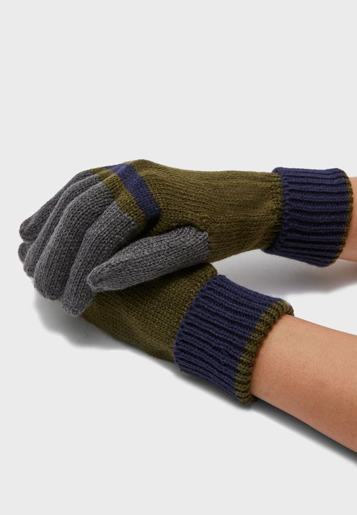 Mens Knitted Colour Block Gloves