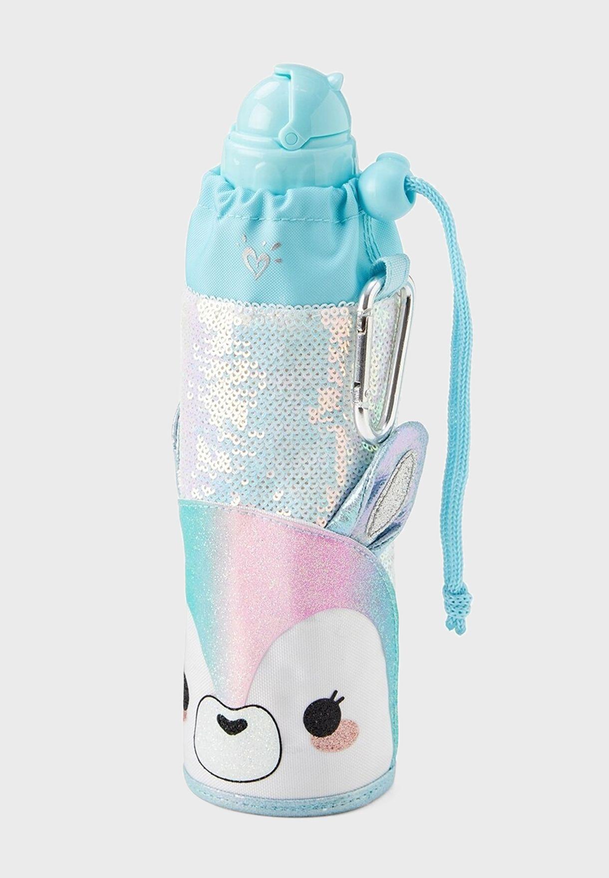 Kids Lama Sequin Sleeved Water Bottle