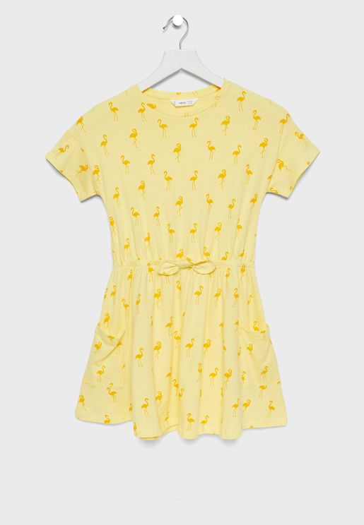 Kids Flamingo Print Dress