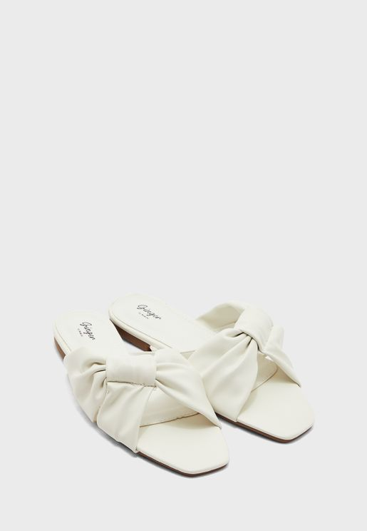Knotted Ruched Flat Sandal