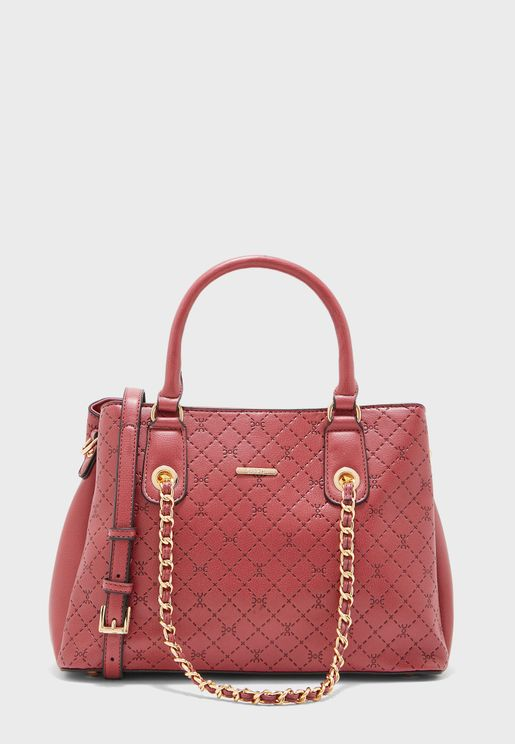 Chain Detail Top Handle Tote