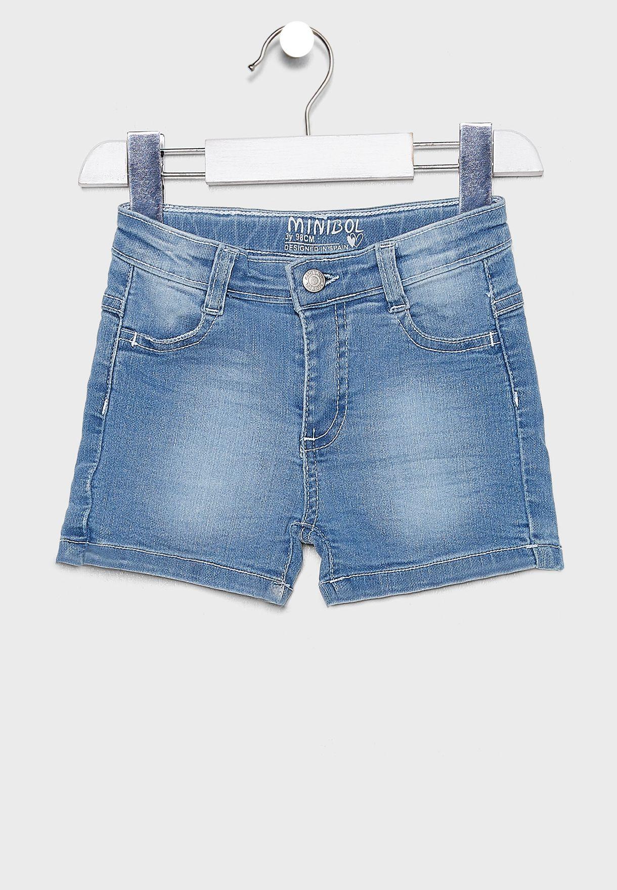 Little Hem Fold Denim Shorts