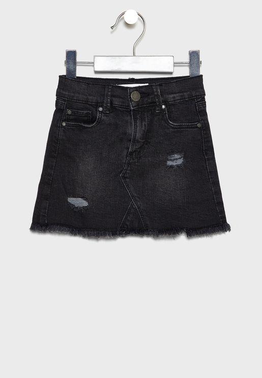 Kids Dark Washed Denim Skirt