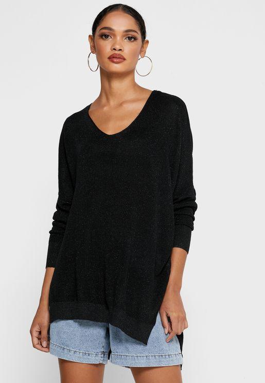 Ruffle Paneled Sweater