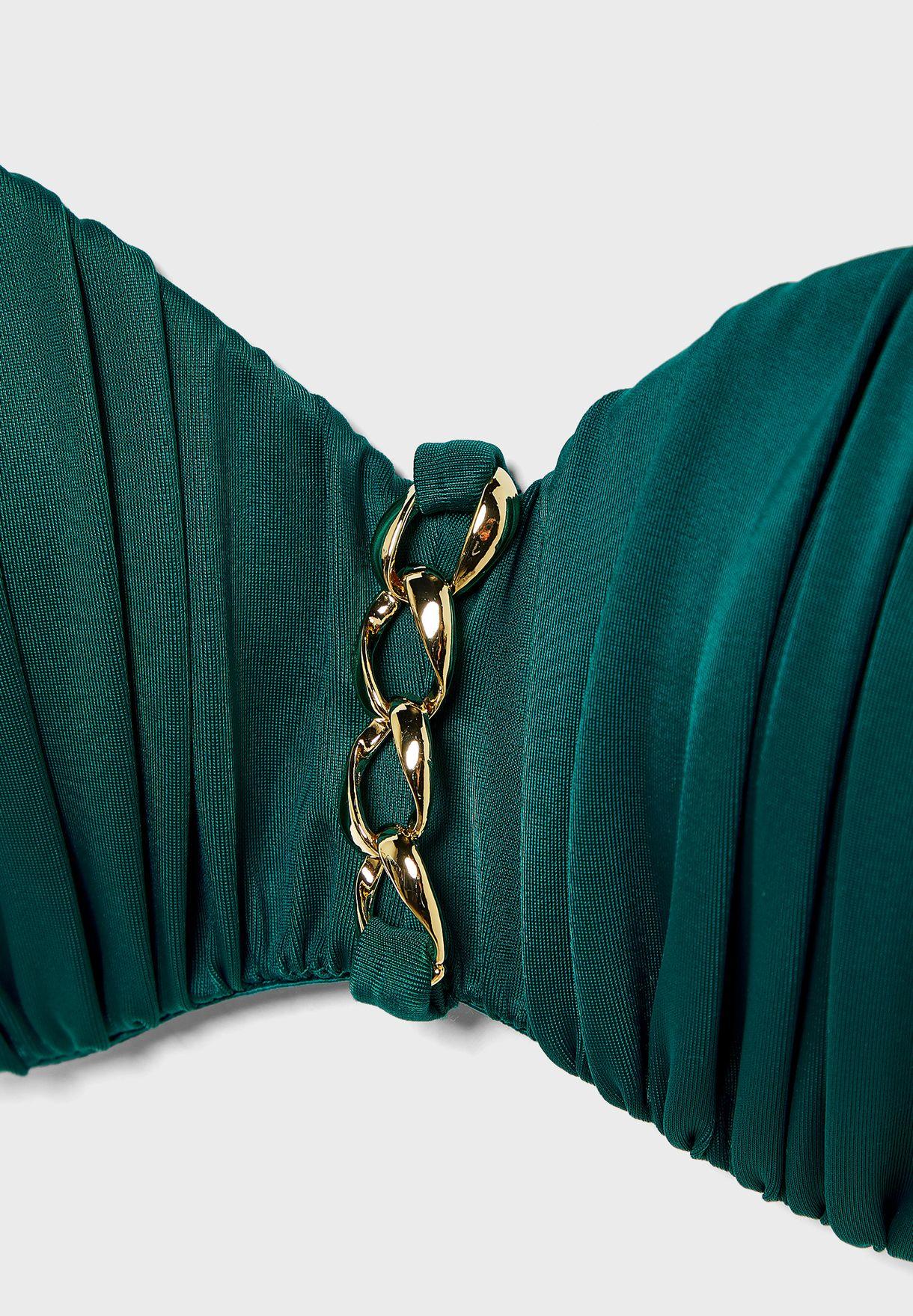 Chain Detail Bandeau Bikini Top