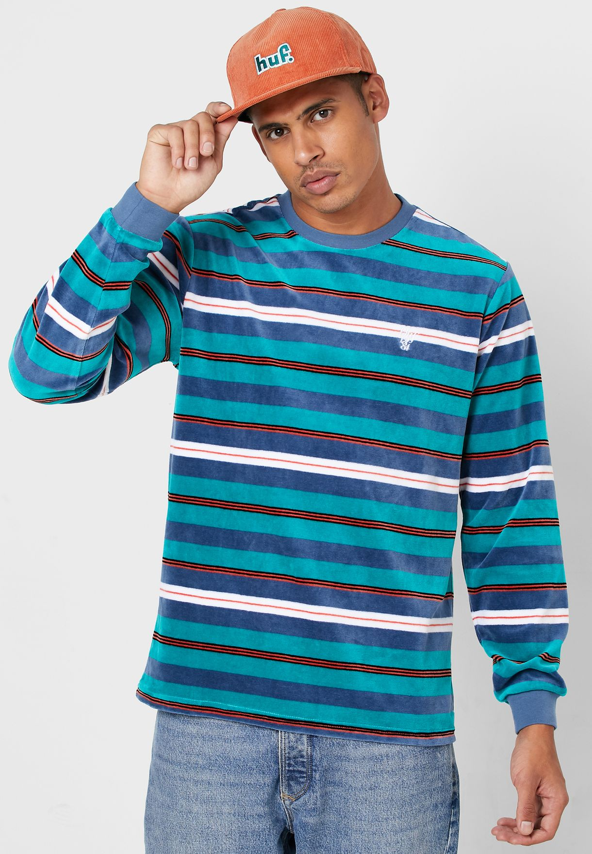 Unveil Striped Velour T-Shirt