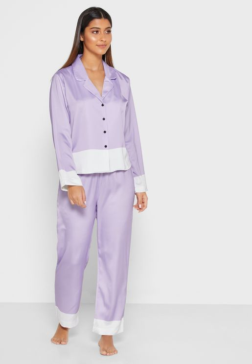 Contrast Trim Shirt Pyjama Set