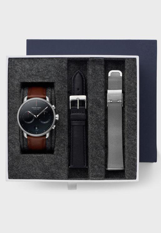 طقم ساعة جلد اصلي + حزام ساعة